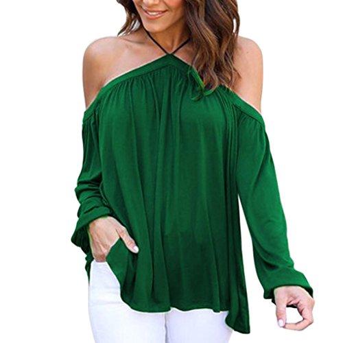 Ouneed Las mujeres de moda irregular manga larga de hombros sin tirantes Tops camiseta Verde