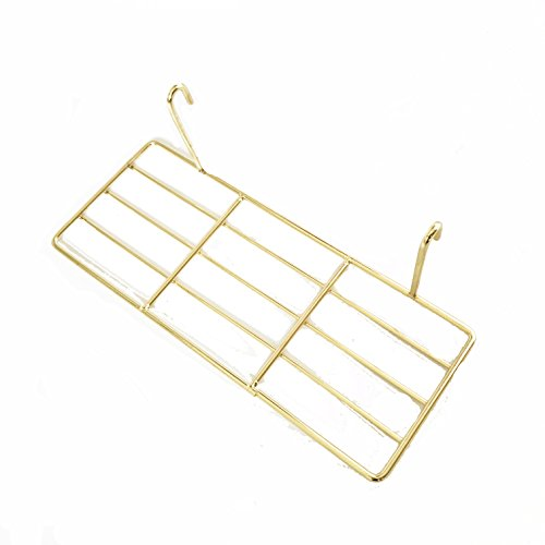 ANZOME Straight Shelf, Wall Shelf with Hook, Wire Shelving for Grid Panel, Wire Storage Shelf Rack for Home Supplies, Wall Decor(Gold) ()