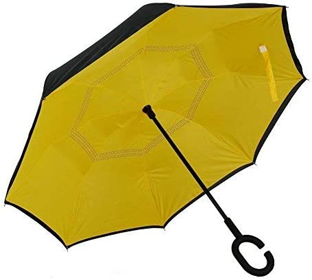 UniM C-Shape Handel Inverted Umbrella Double Layer Wind-Proof and Water-Proof and UV Protection Umbrella for Car and Outdoor, Yellow [並行輸入品]