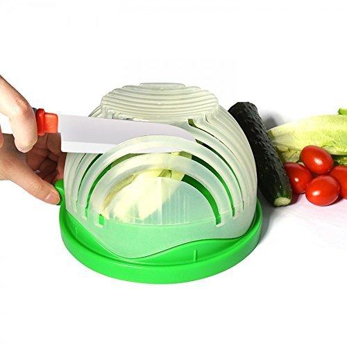 Super Supplies Salad Cutter Bowl, Quick Salad Maker in 60 sec, Slicer Bowl, 3 in 1 Salad Bowl Cutter (Green)