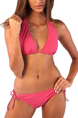 Ingear Sexy Women's Adj Halter/loop Side Tie Swimsuit (Small, Pink Dot - Adj Halter