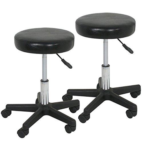 Super Deal Set of 2 Adjustable Height Facial Massage Spa Barber Tattoo Salon Stool Hydraulic Rolling Chair (Black)