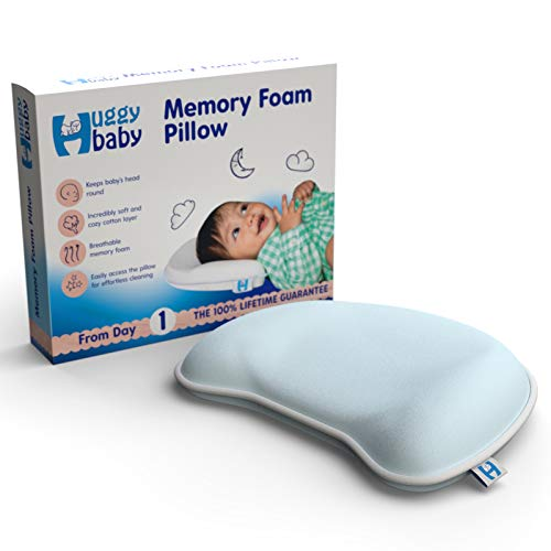 Anti Flat Head Baby Pillow - Memory Foam Infant Head Support - Keeps Infant Head Round & Prevents Flat Head Syndrome - Includes Free Extra Pillow Case - Natural Baby Head Shaping Pillow