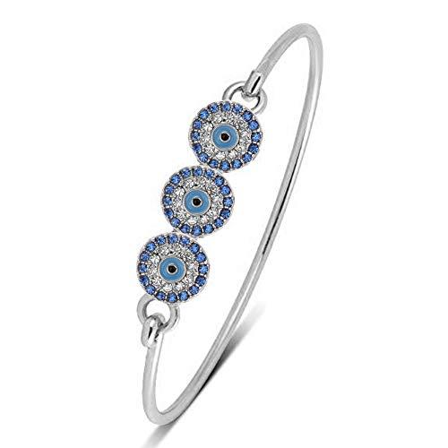SENFAI 3 Blue Turkey Evil Eye Charm Bracelet Bangle for Women (Silver)