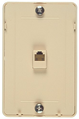 Allen Tel Products AT229 Single Gang, 1 Port, Contains Three 6 Position, 4 Conductor Modular Jacks Wall Telephone Outlet Jack, Plastic, - Phone Jack Ivory