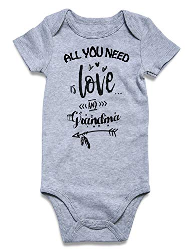 (All You Need is Love and Grandma Romper Jumpsuit Summer Cotton Bodysuit Funny Print Design Baby Romper Gift Novelty Tshirt Costume Babies Bodysuit 1pcs (Love and Grandma, 3-6)