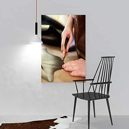 SOCOMIMI Wall Art Painting Frameless Shoemaker Cutting Leather in a Workshop Close up Posters Wall Decor Gift W20 x H40