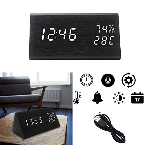 OFLILAK Faux Wooden Alarm Clock, Digital Alarm Clock with 3 Levels Adjustable Brightness and Sound Control, Display Time Temperature Humidity for Bedroom Office (Black)