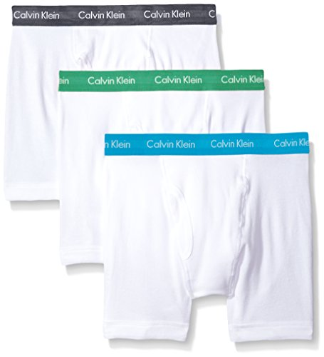 Calvin Klein Men's Underwear Cotton Classics Boxer Briefs (Pack of 3), White/Mistral/Adriatic Sea/Impulsive, Large