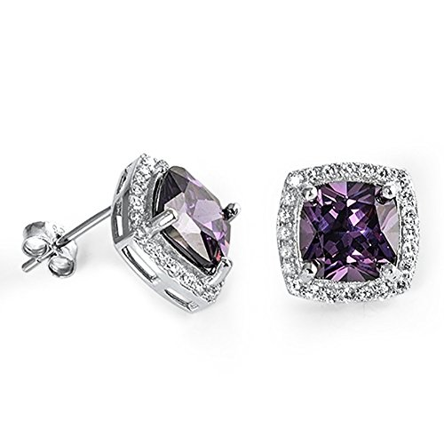 (Halo Stud Earring Princess Cut Simulated Purple Amethyst Round CZ 925 Sterling Silver)
