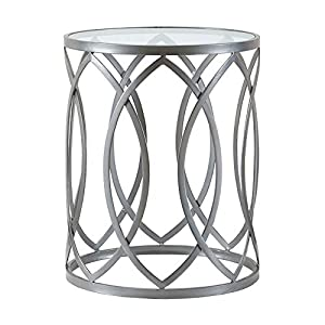 Madison Park Arlo Accent Tables For Living Room, Glass Top Hollow Round, Small Metal Frame Geometric Eyelet Pattern Luxe…
