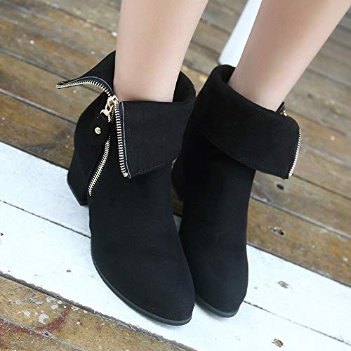 Shoes High Middle Boots Boots Pointed Ankle Boots Thick Black Heels Heel Boots Womens 1TvgUwqnxx
