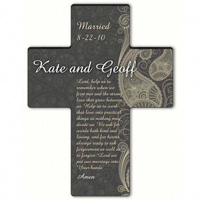 Personalized Wooden Cross (Personalized Gift Paisley Praise Cross - Marriage Prayer)