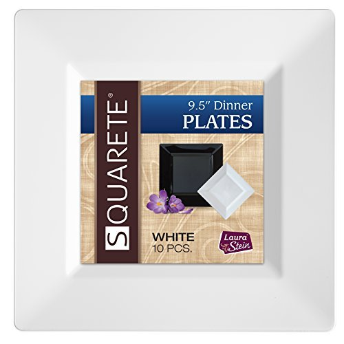 Squarete 9.5'' inch White Dinner Square Plates Hard Plastic Elegant Disposable. 10 Square Dinner Plates Per Package Pack of 4 -