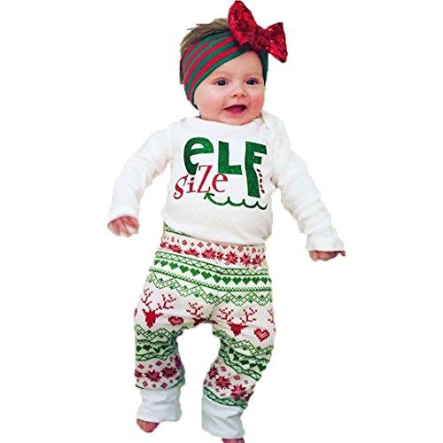 Baby Boy Girl Xmas Outfit Christmas ELf Long Sleeve Romper Bodysuit Deer Pants Set (80 / 6-12 (Girls Elf Outfit)