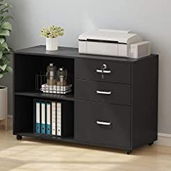 Tribesigns 3 Drawer Wood File Cabinets w...