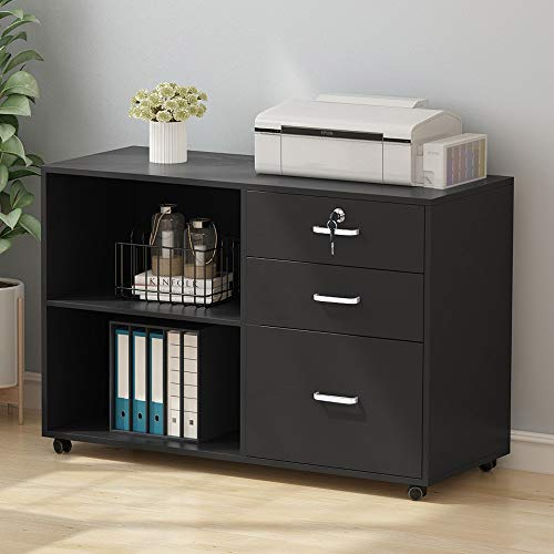 Tribesigns 3 Drawer Wood File Cabinets with Lock, Large Modern Lateral Mobile Filing Cabinets Printer Stand with Wheels, Open Storage Shelves for Home (Black with Lock)