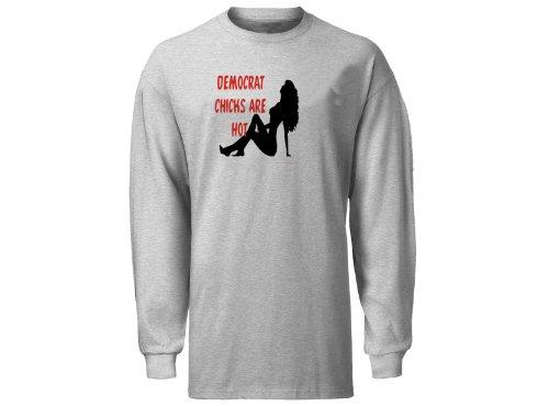 - DEMOCRAT CHICKS Are Hot Adult Long Sleeve T-Shirt ASH GREY LARGE [Apparel]