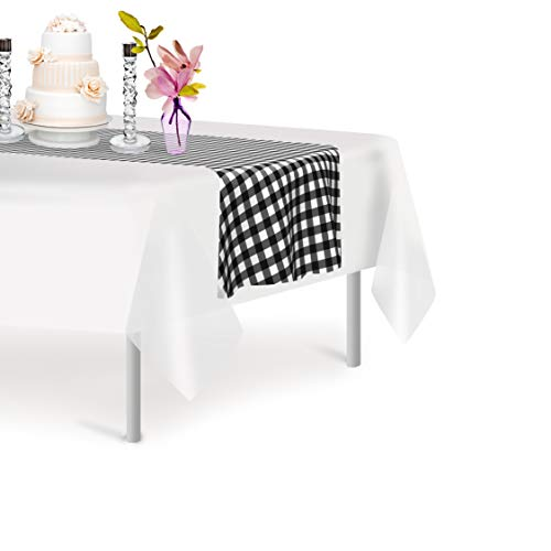 Black Checkered 6 Pack Gingham Premium Disposable Plastic Checkered Racing  Flag Table Runner 14 x 108 Inch. Decorative Table Runner for Dinner Parties & Events, Decor By ()