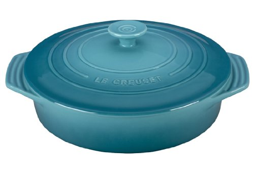 Le Creuset Stoneware Covered Round Casserole, 9.5-Inch, Caribbean