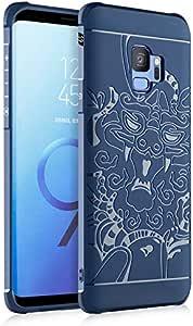 Samsung S9 Silicone Pure Matte Anti-fall Phone case Dragon Phone Cover,Blue
