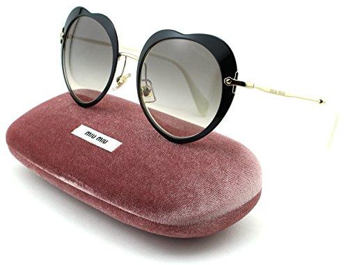 Miu Miu MU 54RS Women Ireegular Metal Sunglasses (Black Frame, Pink Gradient Grey Lens - Eyewear Miumiu