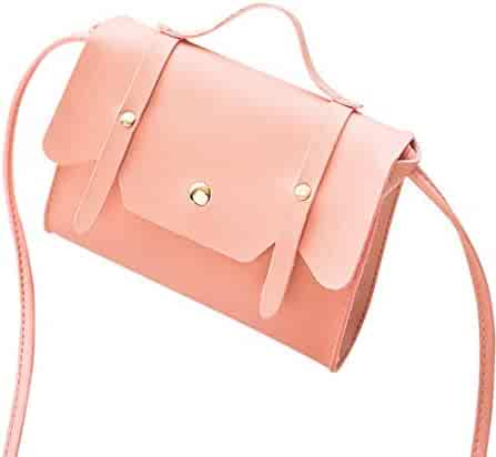 c20b34c62b Yihaojia Leather Fashion Square Solid Color Cover Crossbody Bag Shoulder Bag  Phone Coin Bag for Women