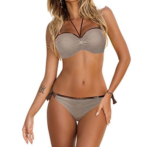 - Lukalook Women Two Piece Bikini Set Underwire Low Waist Side Tie Mesh Glitter Metallic Strap Swimsuit