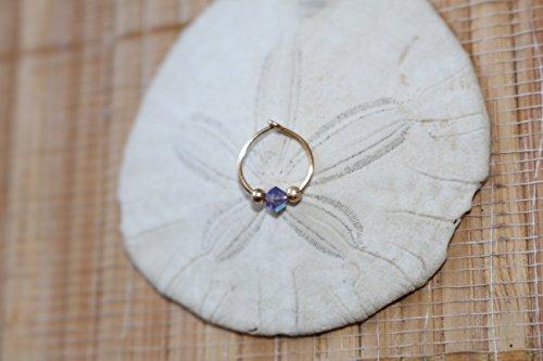 Amethyst.Swarovski crystal Indian nose ring. Septum. Handmade. Gift. Women. Jewelry. Gold. Nose hoop. Bohemian.Stone. Crystal. Statement Ring. ()
