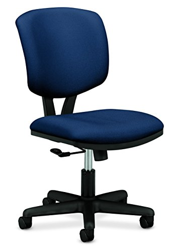 t Low-Back Task Chair - Upholstered Computer Chair for Office Desk - Navy Fabric (H701) ()
