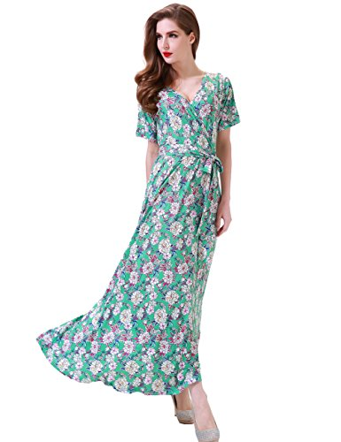 Dress Silk Maxi Floral (Aphratti Women's Bohemian Short Sleeve V Neck Long Beach Wrap Maxi Dress Large Ligth Green/Floral)
