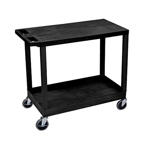 Offex 18 x 32 Inches Cart with 1 Tub and 1 Flat Shelves, Black (OF-EC21-B)