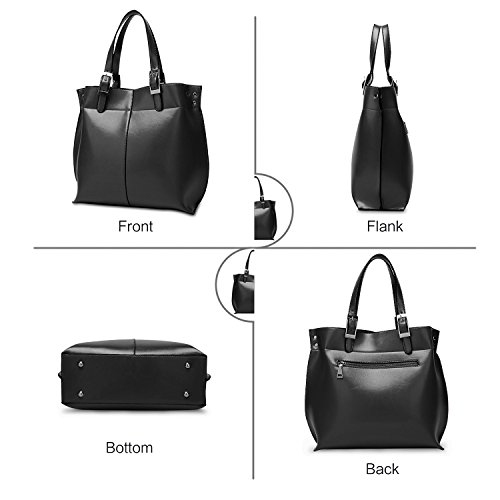 Ladies Fashion ZZSY Handle Wax Bag Oil B Top Leather for Designer black Bag Shoulder Women Tote Handbags Awq644Wg