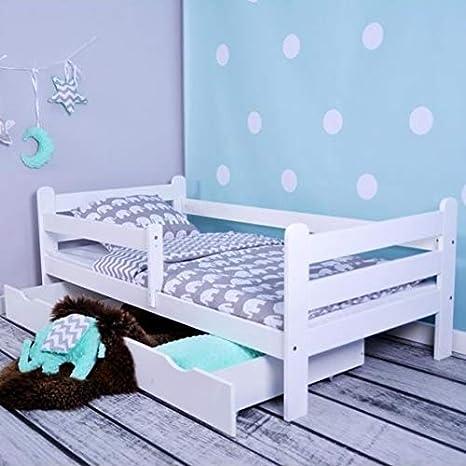 Cama infantil Hugo de Lulu con colchón de 160 x 80 cm, somier y cajón, para niños a partir de 2 años, para niñas y niños, color blanco