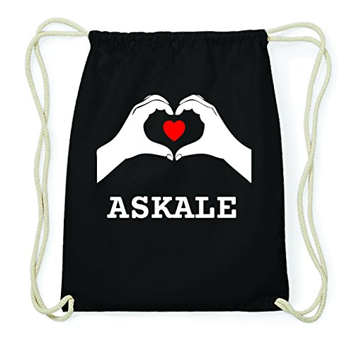 JOllify ASKALE Hipster Turnbeutel Tasche Rucksack aus Baumwolle - Farbe: schwarz Design: Hände Herz