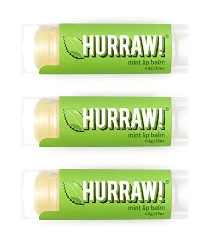 Hurraw Mint Lip Balm, 3 Pack