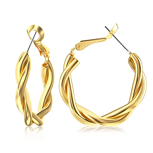 UHIBROS Gold Hoop Earrings for Women, 18K Gold Plated High Polished Classy Twisted Hoop Earrings Hypoallergenic Earrings For Girls Fashion Jewelry