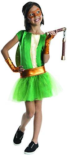 Bad Ninja Turtle Costume (Girls Ninja Turtles Deluxe Michelangelo Tutu Dress Costume (small 3-4 years))