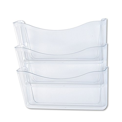 (Rubbermaid 65976ROS Unbreakable Three Pocket Wall File Set Letter Clear)