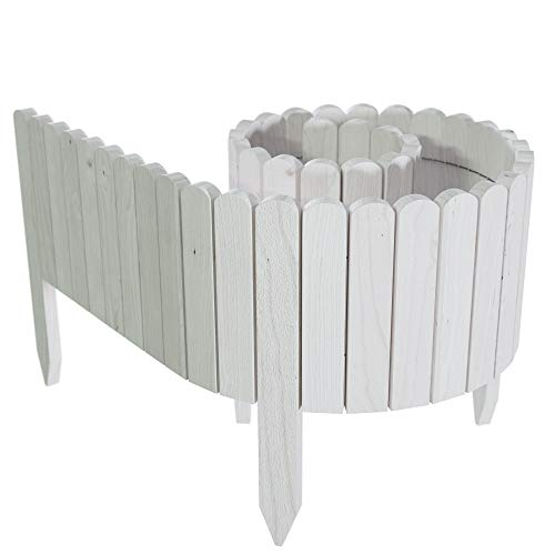 Floranica® Spiked Log Roll Border as Easy Plug-in Fence, Palisade, 203 cm long (can be shortened) as Wooden Edging for Flower Beds, Lawns, Paths – Impregnated, Height:30 cm, Color:white