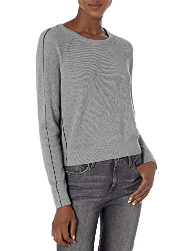 Splendid Women's Long Sleeve Cashmere Blend Pullover Popstitch Sweater, Heather Slate, S