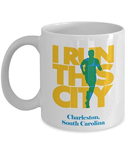 (I Run Charleston City, South Carolina Running Coffee & Tea Gift Mug Cups For Long Distance Marathon)