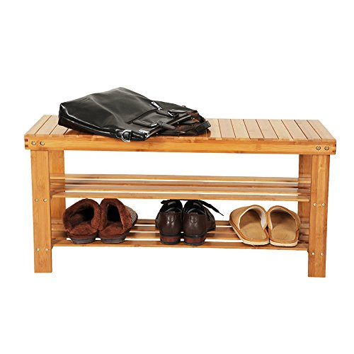 Bonnlo 100% Natural Bamboo Shoe Bench 2-Tier Shoe Rack Organizer Entryway Storage Shelf 35.4 x 11 x 17.7 Inches L x W x H for Closet Bathroom Bedroom Balcony