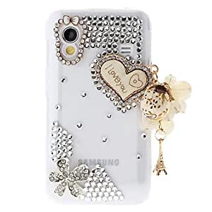 PEACH- ships in 48 hoursRhinestone Transparent Pattern Hard Back Case with Pearl Tower for Samsung Galaxy S5830