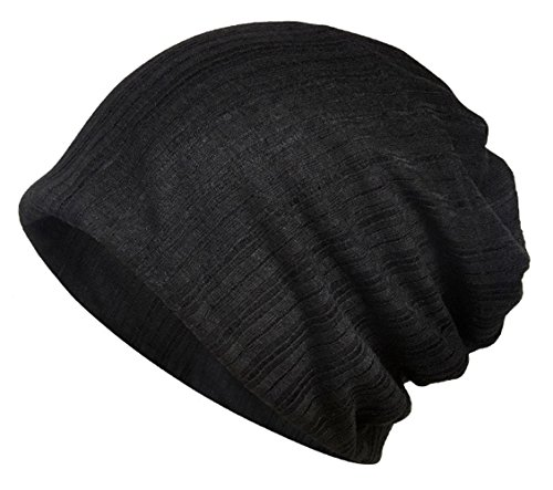 Jemis Women's Chemo Hat Beanie Scarf Liner for Turban Hat Headwear for Cancer (Black)