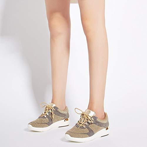 R Correr Zapatillas Libre Gold Flyknit Mesh De De Para Damas YR Zapatillas Cordones Para Gym Mujer Deporte Aire Planas Con Caminando Trainers Al Senderismo dAqwZ7x