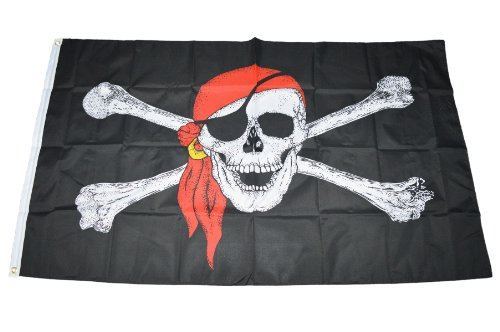 Handycop® Flagge Fahne Skull Totenkopf Piraten Pirat mit Augenklappe und Kopfbedeckung 90 x 150 cm - wetterfeste Qualität