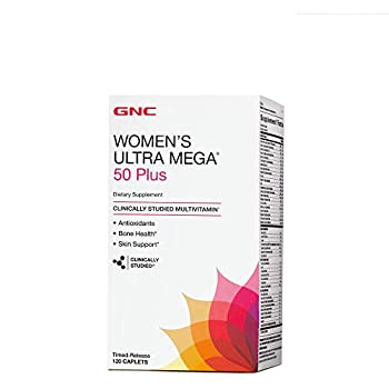 GNC Womens Ultra Mega 50 Plus Daily Multivitamin with Antioxidants for Bone Skin Health - 120 Count