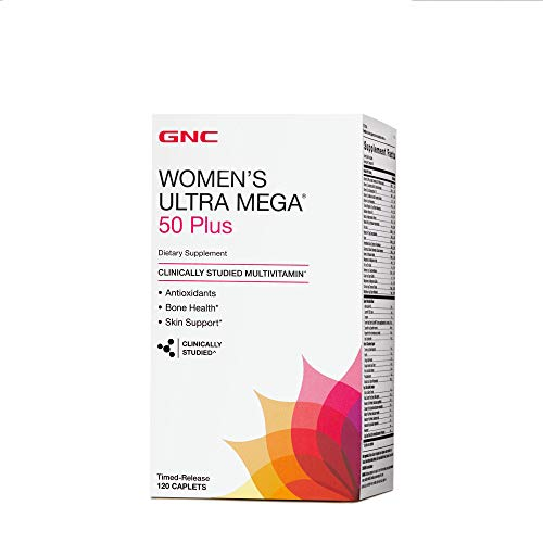 GNC Womens Ultra Mega 50 Plus Daily Multivitamin with Antioxidants for Bone Skin Health - 120 (Gnc Antioxidant Vitamins)