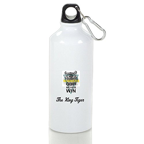 Personalized Custom The Winner Tiger Aluminum White Sport Water Bottle Customizable